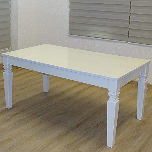 Euro Tische Esstisch 160 x 90 x 75 cm, Weiß Hochglanz Lack Kratzfest, Esszimmer-Tisch Orientalisch...