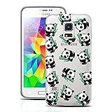 Dexnor Samsung Galaxy S5 Mini Hülle Silikon Transparent Durchsichtig Tasche Ultra Slim Weiche TPU Silikon Bumper Back Cover Schutzhülle HandyTasche Rückseite Schale Etui Case für Samsung Galaxy S5 Mini Panda