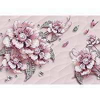 Fototapete Blau Rosen Schmetterlinge Betonwand Blumen Alt Wand vintage
