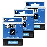 3 Stück Kompatibel Schriftband für Dymo D1-Etiketten 45010 S0720500 Schwarz auf Transparent 12mm x 7m für Beschriftungsgerät Label Manager 160, Label Manager 210D, Label Manager 280