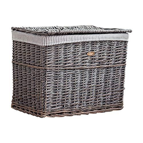KKY-ENTER Panier à linge en rotin rétro linge de coton doublure panier sale vêtements divers panier de stockage, 54 * 35 * 42 cm Coffre à Linge