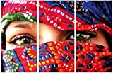 1art1 57527 Frauen - Arabische Augen, 3-Teilig Poster Leinwandbild Auf Keilrahmen 180 x 120 cm