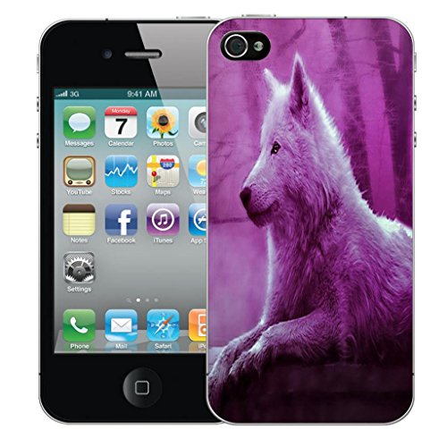 Mobile Case Mate iPhone 4 clip on Dur Coque couverture case cover Pare-chocs - whispy butterflies Motif wolf pink