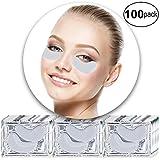 Kit de 100 pares de antienvejecimiento ojos tratamiento leche blanco colágeno máscaras de gel de cristal parches parches para eliminar e hidratar las arrugas pies de las patas, círculos oscuros y ojos esponjosos