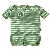 wellyou Baby und Kinder kurzarmbody/baby-body mädchen und junge aus 100% Baumwolle, kurzarm body in grün weiß 2er Set gr 92-98