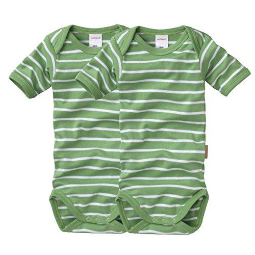 wellyou 2er Set Kinder Baby-Body Kurzarm-Body - grün weiß gestreift - geringelt - Feinripp