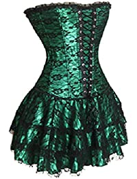 Womens Fashion Gothic Lace Overlay Boned Corset Bustier Skirt