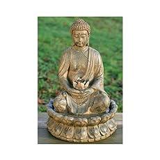 Pozo Escultura Estatua de Buda 52cm con Agua + Luz Feng Shui Figura