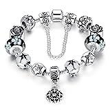 Acquista A TE® Bracciale Charm Beads Fiori di Vetro Smalto Catena Sicurezza Regalo Donna #JW-B107 (Nero)