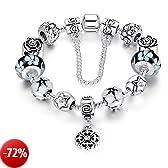 A TE® Bracciale Charm Beads Fiori di Vetro Smalto Catena Sicurezza Regalo Donna #JW-B107 (Nero)