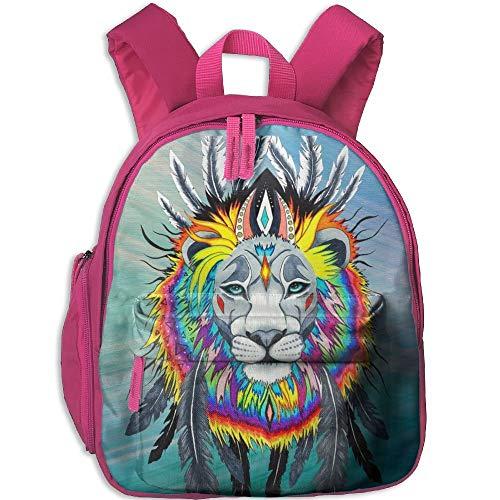 Kindergarten Boys Girls Backpack Colorful Feather Hair Lion School Bag