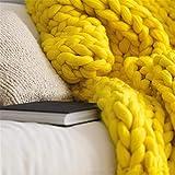 MS.REIA Gelbe klobige gestrickte Decken handgefertigt Wolle Nordic Decke Yoga-Matte Schlafsofa Wohnkultur 150 * 180 cm