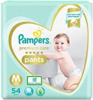 Pampers Premium Care Pants, Medium size baby diapers (MD), 54 Count, Softest ever Pampers pants