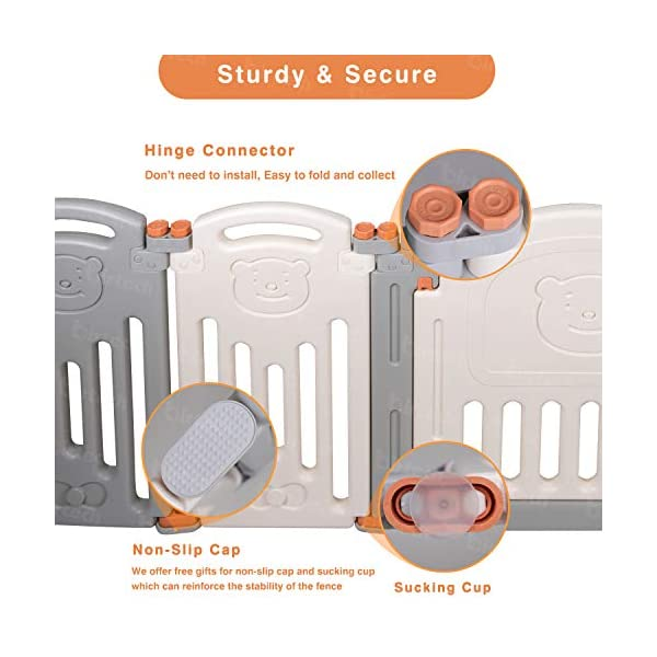 Baby Playpen,Foldable Playpen with Gates Activity Center Safety Play Yard for Babies and Kids - 14+2 Panel HDPE Indoor Outdoor Playards Fence Set Birtech 💝👼🏩Baby Playpen with Safety Material 💝👼🏩Crafted with high quality non-toxic commercial grade HDPE material widely utilized for every day products,BPA free and non-recycle material with HDPE, no any odor, perfect for your baby. 💝👼🏩Baby Playpen to Free You Hands💝👼🏩Cooking/housework or just want to rest inside the house for a while, a playpen is a great idea. You will have a play center to keep your baby safe and entertained. You can set it up easily and your kids can use their play area right away. 💝👼🏩Flexible Shape💝👼🏩You can use all 14+2 panels or less, it's up to you, this feature along with the ability to shape it be it square, rectangle, hexagon or octagon will fit anywhere in your house. 11