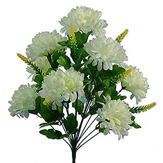 ZREED 4pcs Boda 9 Cabeza Artificial crisantemo Crema Flor del arbusto de Inicio de tumbas