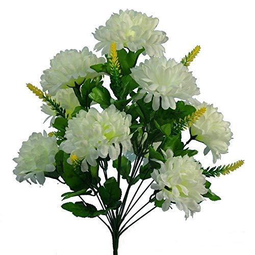 ZREED 4pcs Boda 9 Cabeza Artificial crisantemo Crema Flor del arbusto de Inicio de tumbas (Color : Yellow)