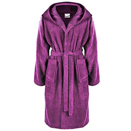 antel mit Kapuze aus 100% Baumwolle mit Öko-Tex Siegel in vielen Farben und Größen/super saugfähig für Damen & Herren (XXL, Lila) ()
