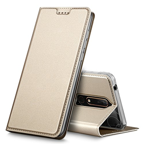 Nokia 6 2018 Hülle, iBetter Nokia 6 2018 Flip Bookstyle Kompletter Hüllen Mit Magnetverschluss und Standfunktion Tasche Etui Hüllen Schutzhülle für Nokia 6 Dual SIM Smartphone VERSION 2018(Gold)