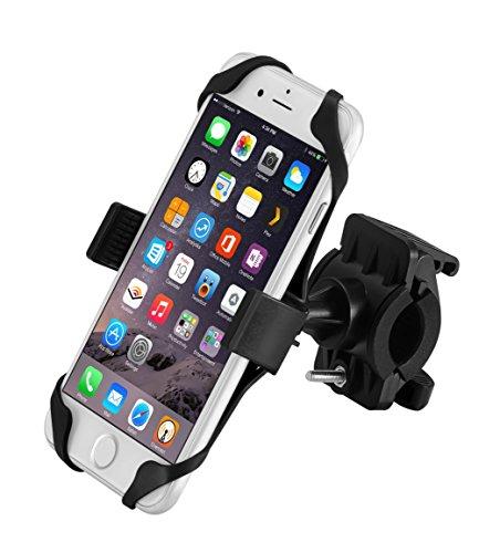 Fahrrad-Telefon-Halter, icefox® Universal Docking-Station Fahrrad-Halterung für iPhone, Android Smartphones, GPS und andere kompatible Geräte, rutschfeste Clamp, 360 Grad rotierbar, Gummibügel mit zwei Bandgriffe (Schwarz)