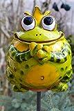 Maison en France Gartenstecker Frosch mit Krone-frostfest- Sehr orginell- Echte Gartenkeramik-Gartenstecker- Sehr Gute Qualität- Handarbeit- witterungsbeständig