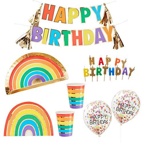 39 Teile Deko-Set Geburtstag Happy Birthday Rainbow - Regenbogen - Party-Deko Kinder & Erwachsene Junge-n & Mädchen / Geburtstag-s-Feier / Tisch-Dekoration / Motto-Party Einhorn & Phantasy (Dekorationen Tisch Geburtstagsfeiern Für)