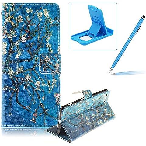 Sony Xperia M5 Funda de cuero billetera,Herzzer Sony Xperia M5 alta calidad la cubierta del estilo del libro,[Modelo colorido] Magnética Cubierta de la caja Funda protectora de TPU interior suave con Stand Función y Imán y ranuras para tarjetas de crédito para Sony Xperia M5 + 1 x Azul de la célula Teléfono pata de cabra + 1 x Azul Lápiz óptico - Rama de árbol
