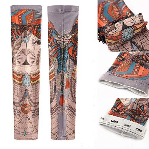 toos Unisex-Mode Nylon gefälschte temporäre Tätowierung Ärmel Arm Socken Halloween Tattoo Outdoor-Sport UV-Schutz Reitausrüstung (Color : B) ()