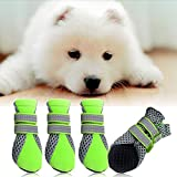#1: Generic Pet Dog Boots Water Repellent Anti-Slip Protective Boots Shoes - green , XL