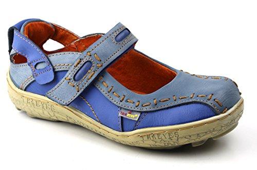 TMA Leder Damen Ballerinas Sommer Schuhe Sandale 1601 Blau