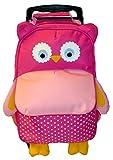 BOMIO Kinder-Trolley-Kombination   farbenfroher Kindergartenrucksack   Kindergartentasche   niedlicher Kinderkoffer   3 Tragemöglichkeiten   süßes Eulen-Motiv pink