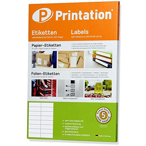 Universal Etiketten 1600 Stück 105 x 37 mm weiß selbstklebend bedruckbar - 100 DIN A4 Bogen à 2x8 105x37 Labels - 3484 4462 4620 - 1600 Inkjet