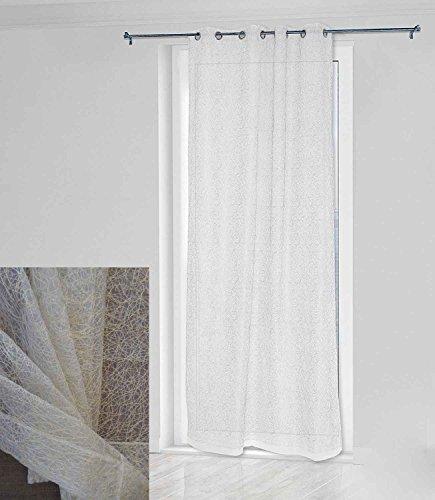 Takestop® tenda versus crema 140x280cm a pannello doppio velo con 8 anelli per arredo interni porta finestra bastone design moderno