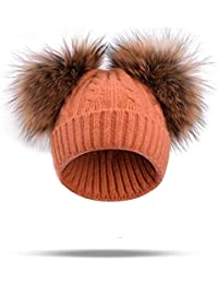 Sunonip Vera Pelliccia di Visone Cappello con Pompon Cappellino Invernale Cappello  di Lana Lavorato A Maglia Due PON PON Skullies Berretti… 257ef9727f44