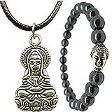 Wunderschönes Buddha Armband Hämatit mit Halskette Für Damen Und Herren EARTH THERAPY SCHMUCK