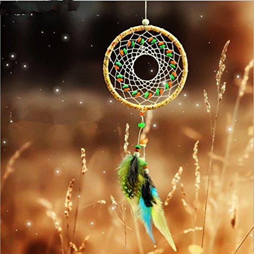 indiano-muticolor-pietra-artigianato-acchiappasogni-con-piume-perlina-parete-appeso-ornamento