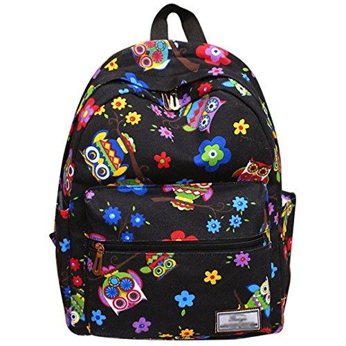 LAHAUTE Grundschüler Mittelschüler Hochschüler Segeltuchstoff National Style Rücksack Schultasche College Stil Tasche Mehrfarbige Eule Eule