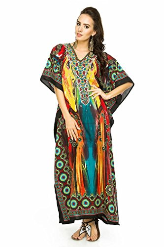 Rot Floral Kimono (Neu Damen Überdimensional Maxi Kimono Kaftan Tunika Kaftan Damen Top Freie Größe, Rot - 002, 46-50(29))