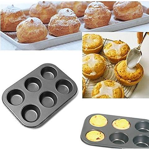 aliciashouse 6fori Mini Cupcake Ovenware metallo padella antiaderente Bakeware Mould