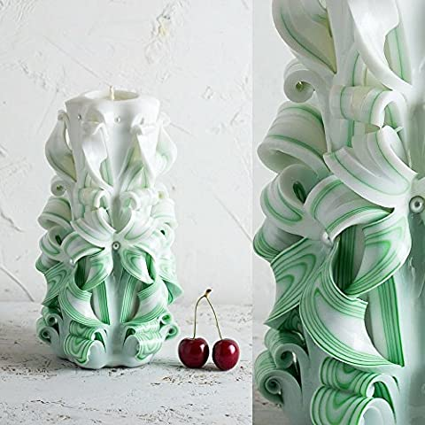 Unique Carved Candle - Green Color Unusual Gifts Unity Ceremony - Valentine's Day Women - EveCandles