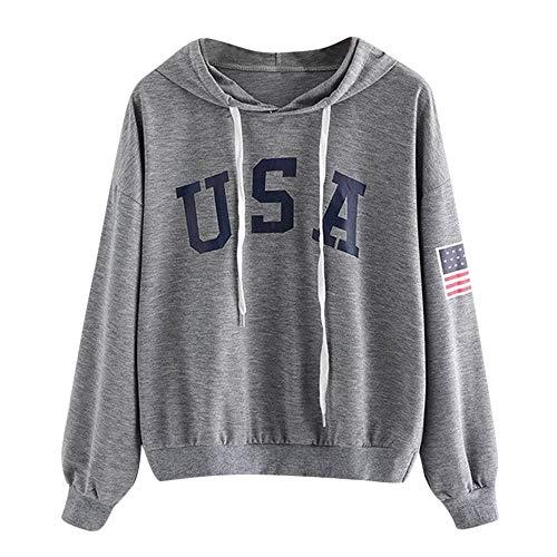 TWIFER Hoodie Brief Flagge Gedruckt Sweatshirt Langarm Pullover Tops Bluse (XL/EU 40, Dunkelgrau)