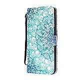 KM-Panda Housse Coque Compatible pour Apple iPhone 6 6s Motif Bleu Mandala Cuir...