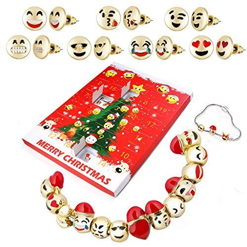 TAOtTAO Weihnachtsschmuck Kalender Geschenkbox DIY Geschenk Schmuck Adventskalender 2019 24 Tage mit Armband Countdown