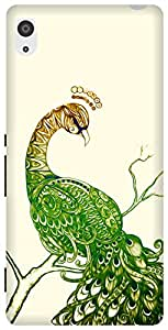 The Racoon Grip printed designer hard back mobile phone case cover for Sony Xperia Z2. (Peacock Wh)