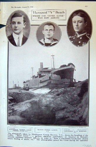 old-original-antique-victorian-print-1915-v-beach-ship-river-clyde-drewry-samson-robinson-navvies-re