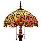 Bieye L30712 Libélula Tiffany Style - Vitral, lámpara de pie con pantalla de 16 pulgadas de ancho hecha a mano para sala de estar, naranja, 65 pulgadas de alto