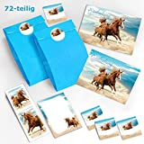 12 Einladungskarten zum Kindergeburtstag Pferd / Fohlen / zwei Pferde / schöne und bunte Einladungen für Mädchen incl. 12 Umschläge, 12 Party-Tüten / blau, 12 Aufkleber, 12 Lesezeichen, 12 Notizblöcke