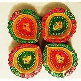 Handmade Earthen Clay Decor Diya|Terracotta Diya (Set Of 10) Multicolor |Diwali Diya |tealight|Oil Lamps| Festival Home Decoration|Diwali Gift