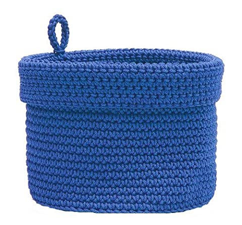Heritage Lace Mode Crochet Round Basket with Loop, 10 by 10-Inch, Cobalt Blue by Heritage Lace