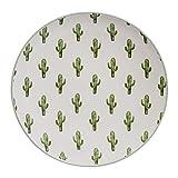 Bloomingville Teller Jade Kaktus, grün/weiß, Keramik Ø20 cm