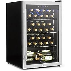 Klarstein Falcon Crest - cave à vin, réfrigérateur à boisson, 128 litres de volume et 48 bouteilles, 10 étagères, température de 4 à 18°C, 67 litres volumes, cadenas et 2 clés, argent
